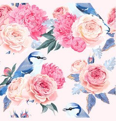 flowers and birds seamless vector image vector image