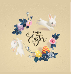 happy easter inscription surrounded by decorated vector image vector image