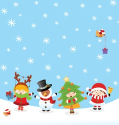 Kids With Christmas Costume vector image vector image