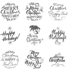 Merry Christmas Lettering Design Set vector image