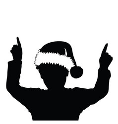 Child silhouette with chrismas hat vector