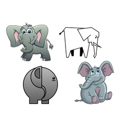 Cute cartoon baby elephants vector image vector image