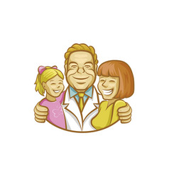 happy doctor hugging mother and girl vector image