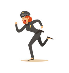 police women officer running character vector image vector image
