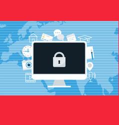 Ransomware blocking access to computer data vector