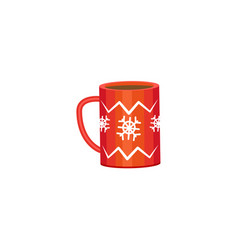 red mug - cocoa coffee tea winter holiday icon vector image