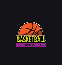 basketball tournament logo template vector image vector image
