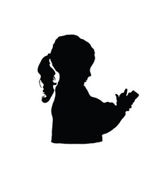 child silhouette with mobile phone vector image vector image