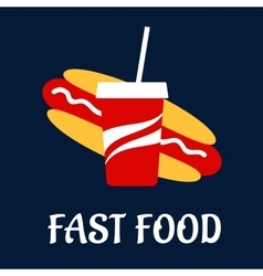 Fast food hot dog with soda vector image vector image