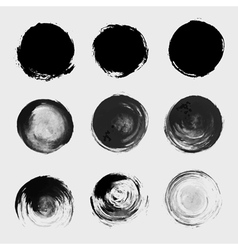 Grunge paint circle element set brush smear stain vector