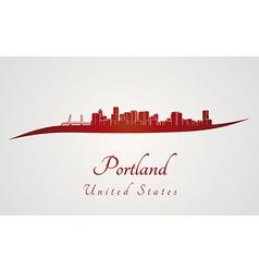 Portland skyline in red vector image vector image