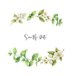 watercolor wreath of flowers jasmine and vector image