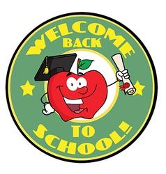 Welcome Back To School Circle And Student Apple vector image