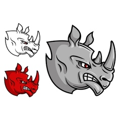 Fierce cartoon rhino head vector image