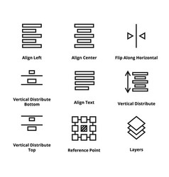 9 alignment line icons vector image