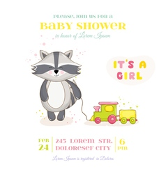 Baby shower or arrival card - racoon girl vector