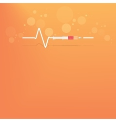 Backgrround with heart bit after drug syringe vector
