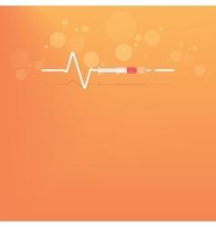 Backgrround with heart bit after drug syringe vector image