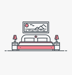 Bedroom with bed vector