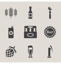Beer icons set bottle glass vector
