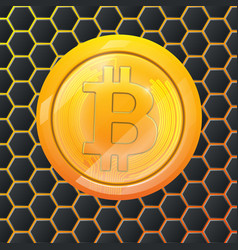 Bitcoin gold coin crypto currency hexagonal vector