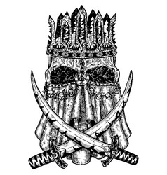 black and white scary skull king in crown vector image