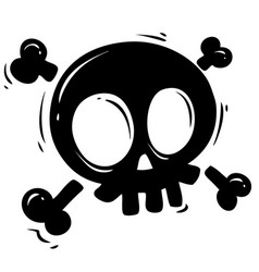 black silhouette skull with crossed bones vector image