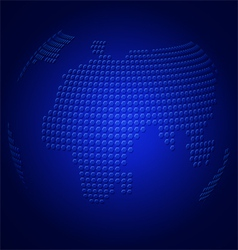 Blue globe with embossed map vector