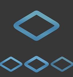Blue line rhombus logo design set vector
