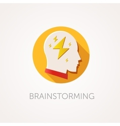 Brain Storming Icon Flat design style with long vector