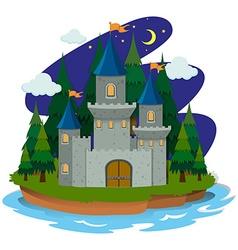 Castle on island vector