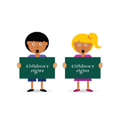 Children holding card with rights vector
