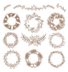 Christmas hand drawn wreaths border frames vector