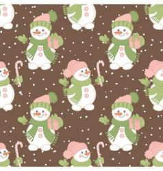 Christmas Snowmen Seamless Pattern vector image
