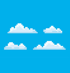 clouds pixel game graphics 8 bit sky smoke vector image