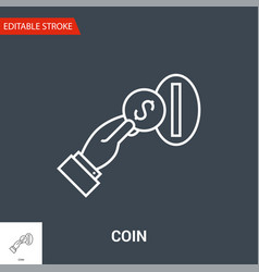 coin in hand icon thin line vector image