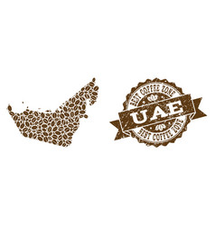 Collage map of united arab emirates with coffee vector