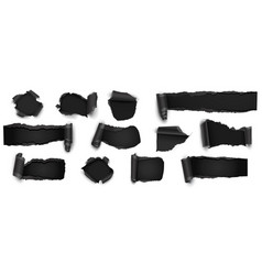 collection of torn black paper isolated on white vector image