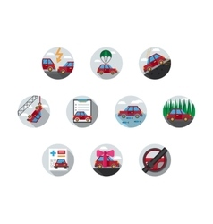 Colored auto insurance icons vector image
