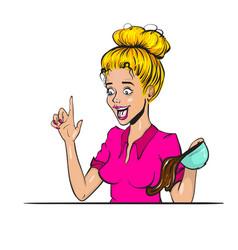 comic book blond surprise woman pop art vector image