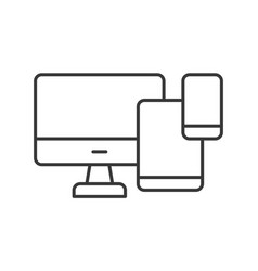 Computer desktop table and smart phone device icon vector