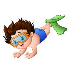 Cute boy cartoon snorkeling vector
