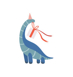 Cute dinosaur in party hat with gift box funny vector