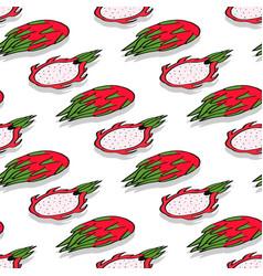 Dragon fruit whole and half seamless vector