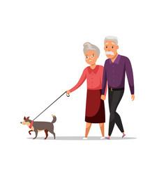 Elderly couple on stroll flat vector