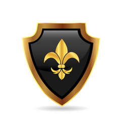 Emblem shield with leaf flower symbol icon vector