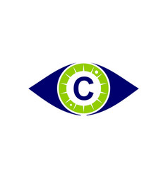 eye care solutions letter c vector image