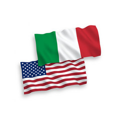 flags of italy and america on a white background vector image