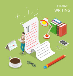 Flat isometric concept of creative writing vector