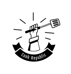 Fresh cooking logo with hand hold turner vector